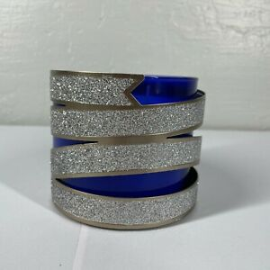 Bath Body Works Silver Glitter Ribbon Candle Holder 3-Wick Holiday Decor Metal