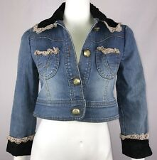 HAPPY WOMAN Denim Jacket No Size Tag Blue Stretch Lace Chiffon Large Buttons