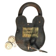 Western Pony Express Padlock Iron and Brass Huge 9.5 Inches Tall – 6 Pounds