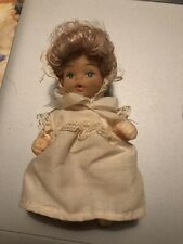 "Hard Plastic Hong Kong 5"" Doll Bendable Blue Eyes Bonnet And Pinafore"