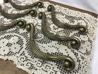 6 Vtg Art Deco Mid Century Brass Drawer Pulls Ornate Swirls Dresser Handle Set