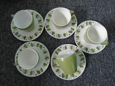 More details for green leaf pattern melaware melamine cups & saucers x 5 camper van caravan  635g