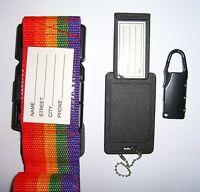 3 Piece Suitcase Adjustable Strap Name Tag Belt Tie Down Travel Combination Lock