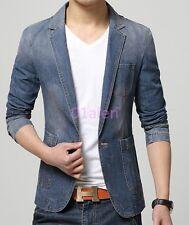 Mens One Button Blazer Denim Jeans coats Slim Casual Cowboy Jackets Suit Retro