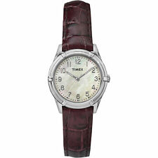 Timex TW2P76300, Women's Brown Leather Watch, Mother of Pearl Dial