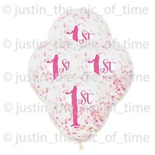 "Unique Party 58165 - 12"" Pink and Gold Girls 1st Birthday Confetti Balloons Pac"