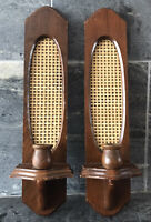 Vtg Rattan Wicker Wood Candle Wall Sconce 60s 70s Holder TIKI BOHO RETRO MOD 2PC