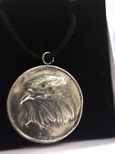 """Eagle On Disc TG69 Made In Solid Fine English Pewter On 18"""" Black Cord Necklace"""