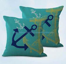 US SELLER, 2pcs sofa pillows cheap sailor anchor beach cushion cover