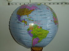 "12"" (31cm) dia INFLATABLE GLOBE - BEACH BAL -WORLD EARTH MAP ATLAS.- Party bag"