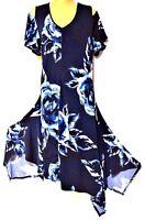 TS dress TAKING SHAPE plus sz M / 18 - 20 Boho Blues Dress stunning stretch NWT!