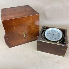 Hamilton Model 21 Ship Chronometer Vintage World War Ii Clock W/ Wooden Box
