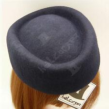 VINTAGE Wool Felt Women Fascinator Ladies Pillbox Hat Stewardess | Navy | Round