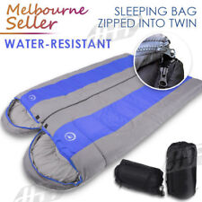 Double Outdoor Camping Sleeping Bag Hiking Thermal Winter -10°C 220x75cm Blue AU