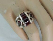 Anello in Argento 925 con pietre granato vintage OMA19
