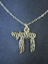 "Sterling Silver Chai Pendant Necklace Israel 18"" 925 Chain"