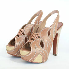 ALAIA $1,750 tan high heel platform pumps Azzedine Alaïa wave flame shoes 39 NEW