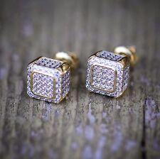Hip Hop Mens Gold Square Shaped Mini Stud Earrings
