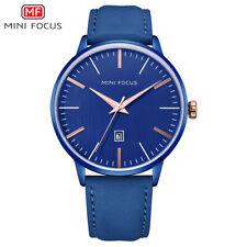 MiniFocus For Mens Quartz Watch Leather Calendar Date Gents  2021 Blue Analog
