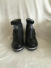 FLY London Leather Ankle Strap Booties - Lepu, Black, Size 6 - 6.5 (Eur 37), New