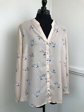"Wallis Ladies Peach Blouse Sheer Long Sleeve Top Bird Print Size Large Bust 43"""