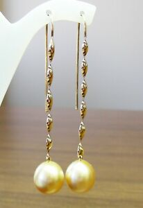 12.4mm!! SOUTH SEA GOLD PEARLS 100% UNTREATED +18ct SOLID YG EARRINGS +APPRAISAL