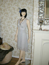 18 GREY DRESS FLOATY BEAD TRIM 20'S 30'S DOWNTON VINTAGE GATSBY PARTY NEW SALE