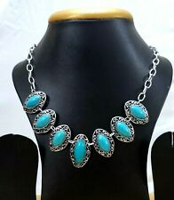 Indian Oxidised Blue Oval Pendant Torquise Stone Woman Necklace Silver Chain