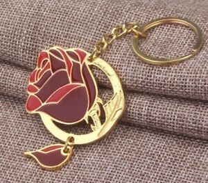 """Beauty And The Beast Rose Keychain Key Ring 2"""" US Seller"""