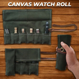 Waxed Canvas Brown Leather Watch Travel Storage Pouch Roll Case Christmas Gift
