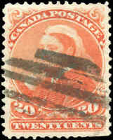1893 Used Canada 20c VF Scott #46 Small Queen Stamp