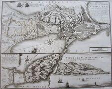 N. De FER: Nouveau Plan de la ville de Gibraltar, gravure originale  de 1727