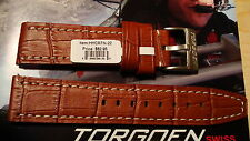 TORGOEN GENUINE FACTORY  REPLACEMENT LEATHER BAND LT BROWN PATTERN 22MM