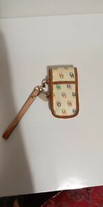 Dooney Bourke Ivory and Rainbow D&B Logo Cell Phone Case Card Wallet Wristlet