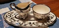 Antique 3-Piece China Myott Old Silver Lustre Set-Cream & Sugar on Oval Tray