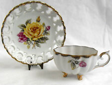 vintage Cherry China of Japan TEACUP, Reticulated Saucer, Yellow Rose, Gold Trim