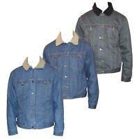 Mens Casual Denim Jacket Coat Jean Warm Fur Collar Fleece Lined Winter Fashion