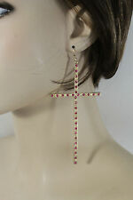 New Women Gold Metal LArge Size Cross Earrings Set Fashion Jewelry Pink Beads