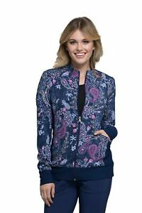 Cherokee Pineapple Paisley Zip Front Knit Panel Warm-Up Jacket Print Scrubs
