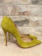 NIB Christian Louboutin Iriza 100 Yellow Cubiste Suede D'Orsay Heel Pump 38.5