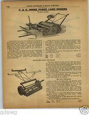 1922 PAPER AD 3 PG F&N Fenden Horse Power Lawn Mower Crestline Pony King