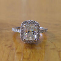 1.50 Ct Radiant Solitaire Diamond Engagement Ring 14K Solid White Gold Size J K