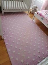 Pottery Barn Kids Pearl Dot Light Pink Rug Hand Tufted Wool 5 x 8