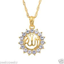 Gold Plated Muslim God Allah Islam Pendant Necklace Locket Chain Jewelry Crystal