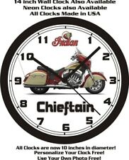 2015 INDIAN CHIEFTAIN MOTORCYCLE WALL CLOCK-FREE USA SHIP!