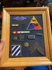 Vintage Military Display A Soldiers Dress Uniforn Badges And Ribbons On Display