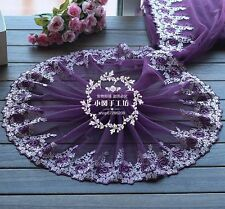 "1 Yd Purple Embroidery Lace Trims Fabric Floral Dress Accessories 9"" Width"