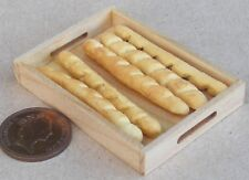 1:12 Scale 5 Loose French Bread In A Wooden Tray Dolls House Bakery Accessory