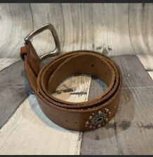 FOSSIL Leather Belt Woman's Small Brown Rhinestones Flashy