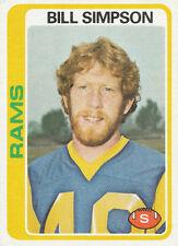 1978 Topps #209 Bill Simpson Los Angeles Rams  football card